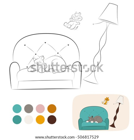 Ginger Kitten Jumps From Floor Lamp On Grey Sleeping Cat Coloring Page With Example