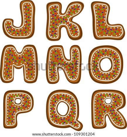 gingerbread alphabet 2 - stock vector