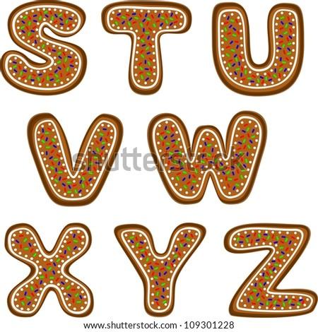 gingerbread alphabet 3 - stock vector