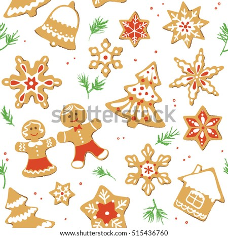 Gingerbread Christmas cookies seamless pattern. Vector illustration.