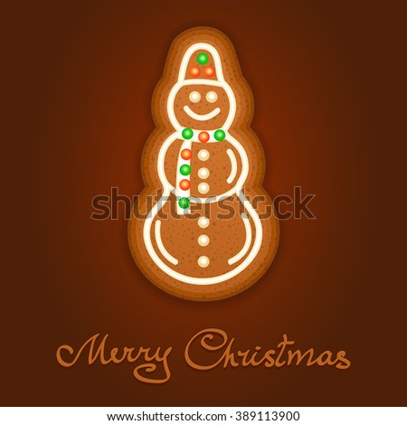 Gingerbread Christmas snowman decorated icing. Holiday cookie in shape of Christmas snowman for christmas, winter holiday, new year's day, new year's sweet pastry. Vector illustration - stock vector