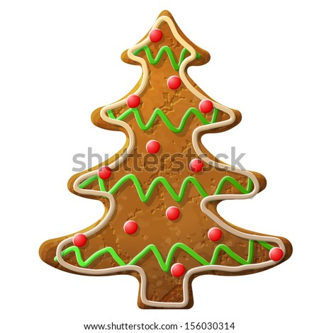Gingerbread christmas tree decorated colored icing. Holiday cookie in shape of christmas tree. Vector image for new year's day, christmas, winter holiday, cooking, new year's eve, food, silvester, etc - stock vector