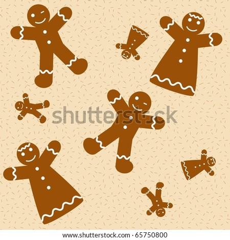 Gingerbread cookies seamless. Vector wallpaper - stock vector