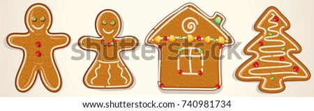 Gingerbread Cookies Set. Vector Christmas Image