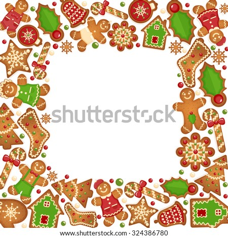 Gingerbread cookies vector frame.  Food dessert decoration christmas, sweet ginger and biscuit illustration - stock vector