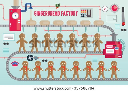 gingerbread factory vector/illustration - stock vector