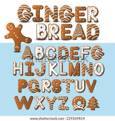 Gingerbread font and gingerbread man EPS 10 vector - stock vector