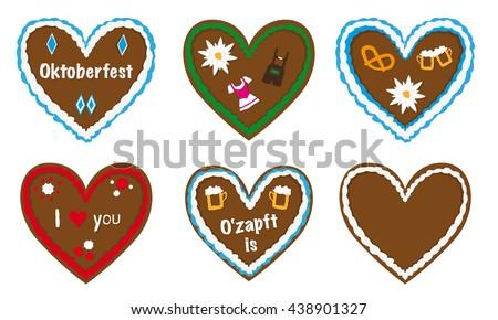 gingerbread heart vector collection, traditional bavarian octoberfest gift, different designs, lederhosen, beer, dirndl icons