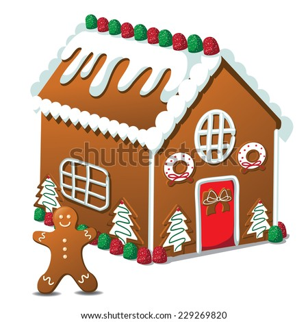 Gingerbread house and gingerbread man EPS 10 vector - stock vector