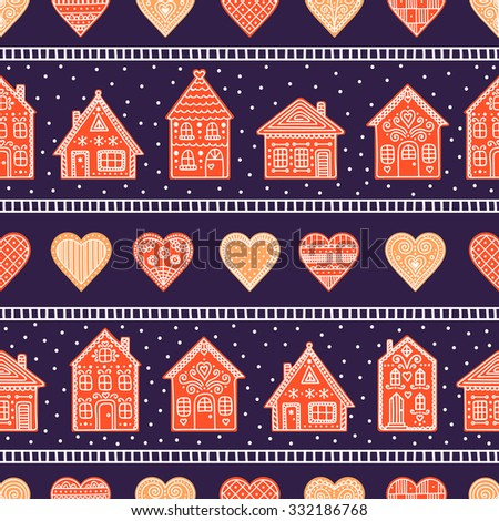 Gingerbread houses and hearts. Seamless pattern with cookie house and heart. Hand drawn doodle christmas background. - stock vector