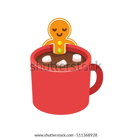 Gingerbread Man Cookie Relaxing In Hot Chocolate Cup With Marshmallows On Christmas Morning Modern Cute