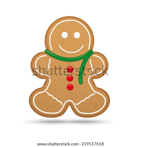 Gingerbread Man Cookie Vector Illustration - stock vector