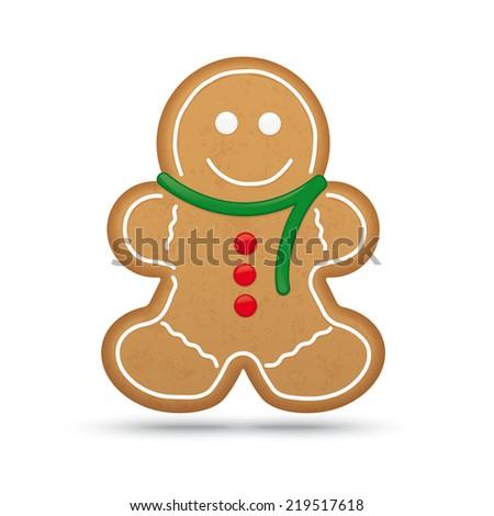 Gingerbread Man Cookie Vector Illustration - stock vector