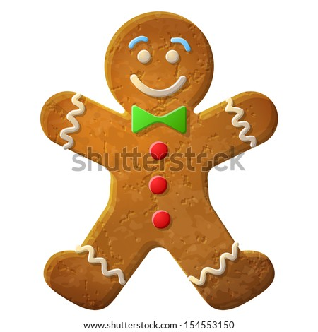Gingerbread man decorated colored icing. Holiday cookie in shape of man. Qualitative vector illustration for new year's day, christmas, winter holiday, cooking, new year's eve, food, silvester, etc - stock vector