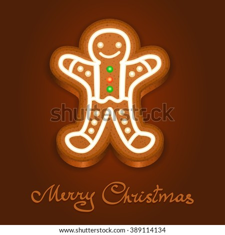 Gingerbread man decorated icing. Holiday cookie in shape of man for christmas, winter holiday, new year's day, new year's sweet pastry. Vector illustration - stock vector