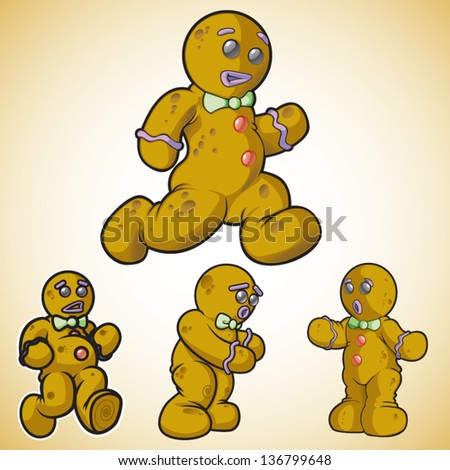 Gingerbread man in different poses. This is 2 of 2 in a series. - stock vector