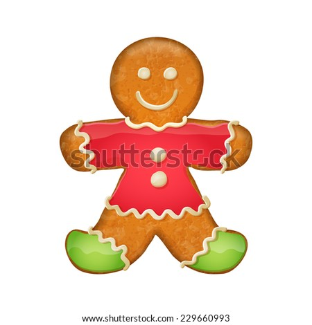 Gingerbread man in red clothes and green socks. Christmas symbol.