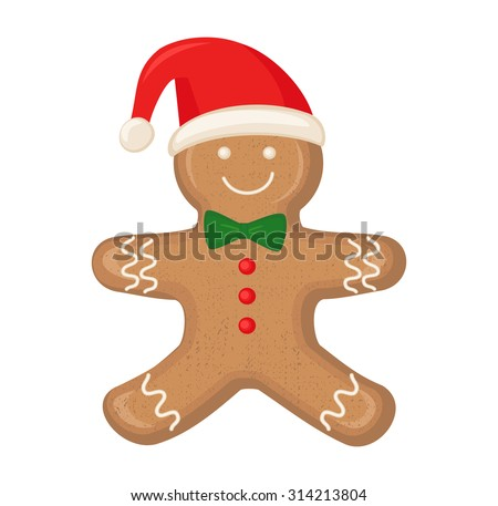 Gingerbread man is decorated colored icing isolated on white background. Cute vector card illustration with Gingerbread man for christmas, winter holiday, cooking, new year's eve, food, silvester. - stock vector