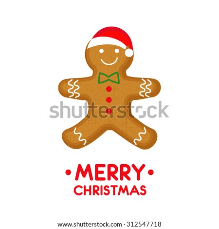 Gingerbread man is decorated colored icing. Vector card illustration with Gingerbread man for christmas, winter holiday, cooking, new year's eve, food, silvester, etc.
