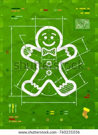 Gingerbread man symbol technical blueprint drawing vectores en stock gingerbread man symbol as technical blueprint drawing drafting of gingerbread man sign on crumpled paper malvernweather Choice Image