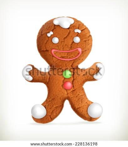 Gingerbread man, vector icon - stock vector
