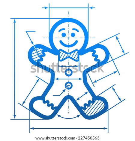 Gingerbread man with dimension lines. Element of blueprint drawing in shape of holiday cookie. Vector illustration for new year's day, christmas, decoration, winter holiday, design, silvester, etc