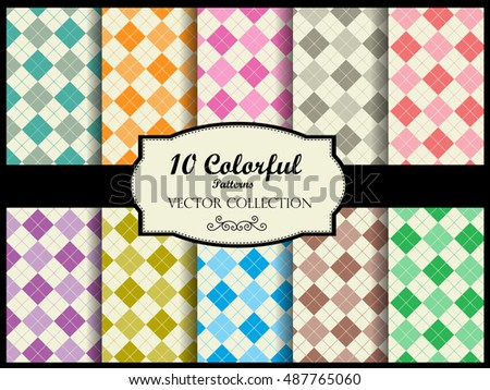Gingham pattern collection / simple gingham pattern swatches in many colors