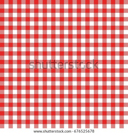 Red Italian Tablecloth. Picnic Tale Cloth Vector.