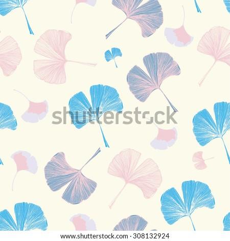 Gingko biloba seamless background - stock vector