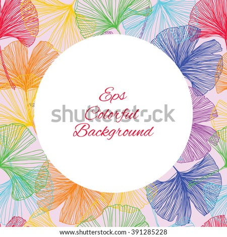Gingko biloba seamless vector background pattern. Multicolors. Hand drawn background  - stock vector