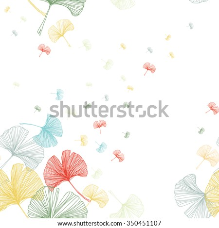 Gingko biloba seamless vector background pattern. Sweet pastel colors on white background. Hand drawn
