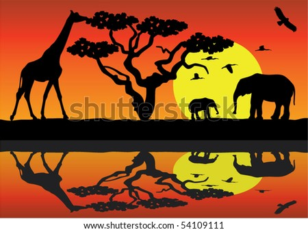 giraffe and elephants in africa near water - stock vector