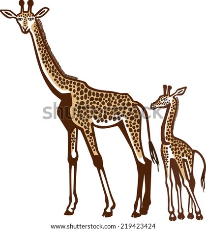 Giraffe and Her Baby