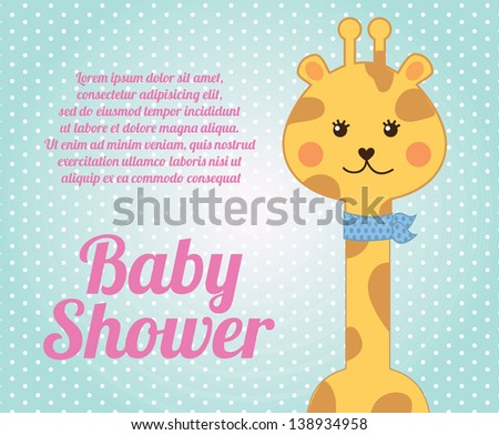 Giraffe baby shower over blue background vector illustration - stock vector