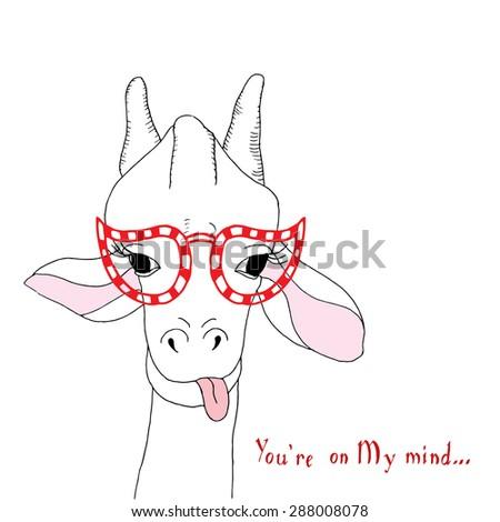 Giraffe card  - stock vector