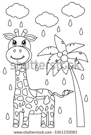 Giraffe Coloring Page Kids Stock Vector 1061250083 - Shutterstock