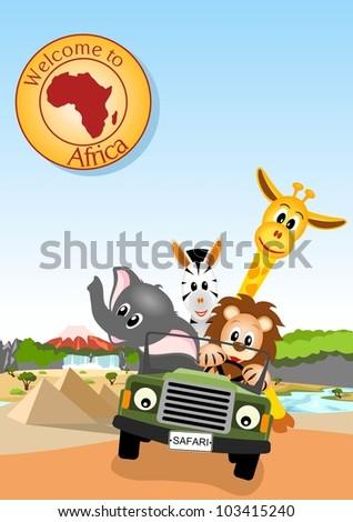 giraffe, elephant, zebra and lion driving green car through african landscape - vector illustration - stock vector