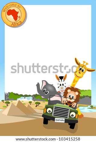 giraffe, elephant, zebra and lion driving green car through african landscape, white background - vector illustration - stock vector