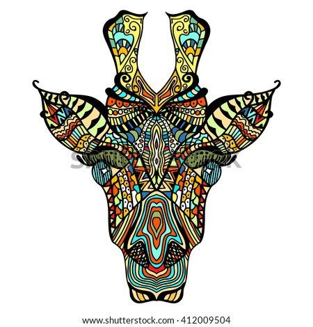 Giraffe. Hand drawn giraffe with ethnic floral doodle pattern. Coloring page zentangle, design for spiritual relaxation for adults, vector illustration, isolated on white background. Zen doodles - stock vector