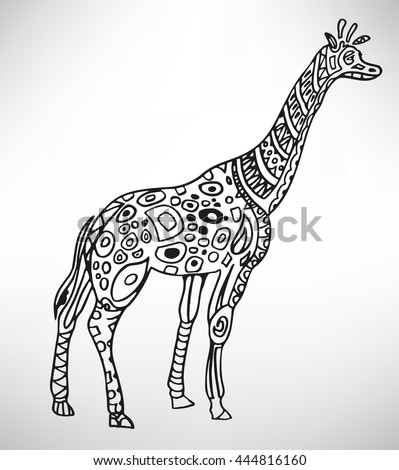 Giraffe. Hand-drawn with ethnic pattern. Coloring page - isolated on a white background. Zendoodle patterns. Vector illustration.