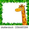 giraffe in a frame of leaves with copy space (the frame and the giraffe are detached and can be used separately). jpeg version is available in my gallery. - stock photo