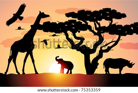 giraffe, rhinoceros and elephant in africa - stock vector