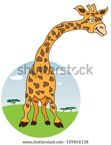 Giraffe with African nature on background - stock vector