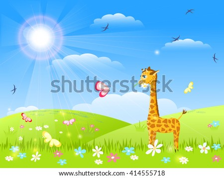 giraffe with flower and butterfly talking on meadow, summer, sun,  vector illustration - stock vector