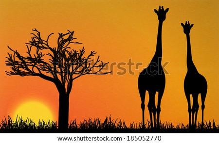 giraffes in Africa vector - stock vector