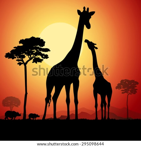 Giraffes on african savannah. Vector illustration - stock vector