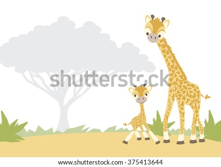 Giraffes Vector Illustration