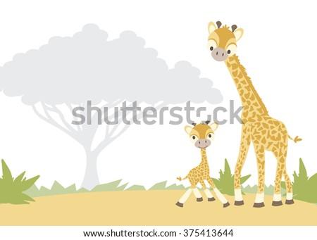 Giraffes Vector Illustration - stock vector