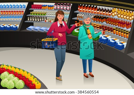 Girl accompanying her grandmother grocery shopping, vector illustration. - stock vector