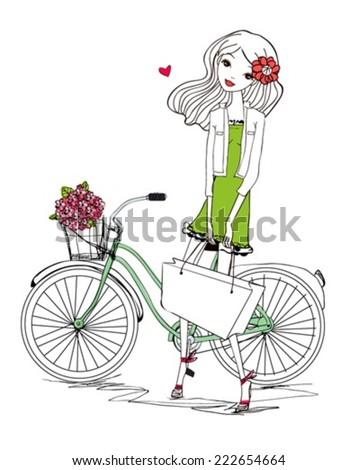 Girl and bike - stock vector